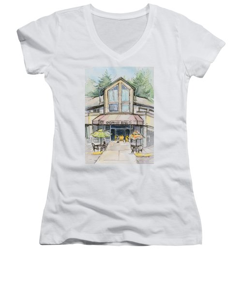 Coffee Shop Watercolor Sketch Women's V-Neck (Athletic Fit)