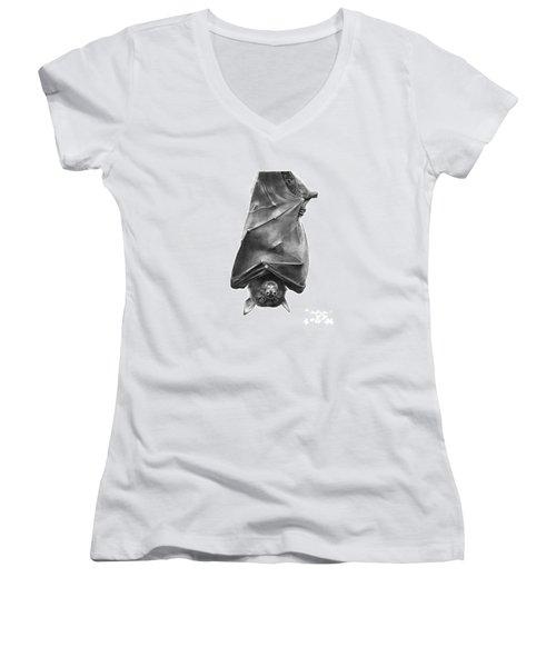 Coffie The Fruit Bat Women's V-Neck T-Shirt (Junior Cut) by Abbey Noelle