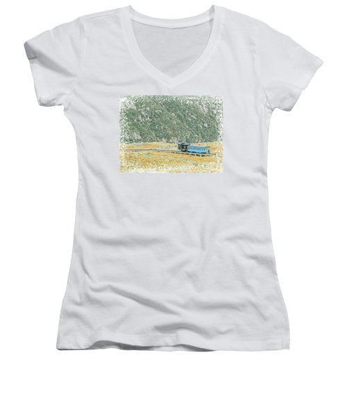 Cog Railroad Train. Women's V-Neck (Athletic Fit)