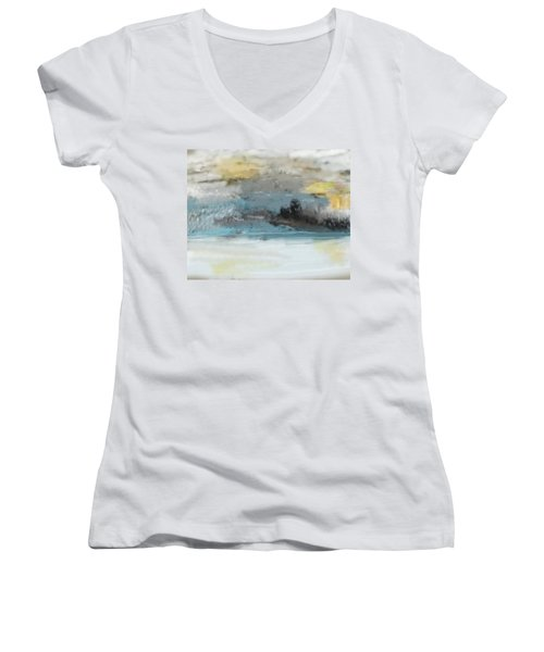 Cold Day Lakeside Abstract Landscape Women's V-Neck (Athletic Fit)