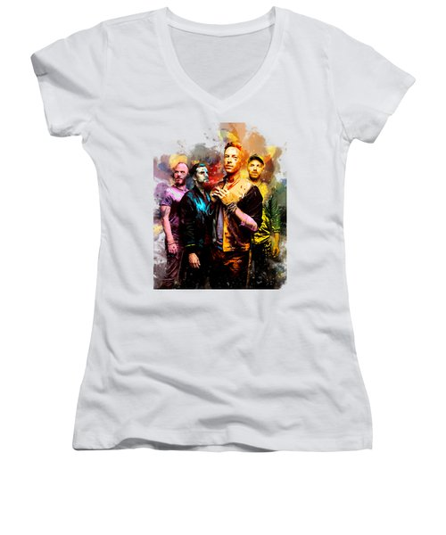 Coldplay Women's V-Neck T-Shirt (Junior Cut) by Rinaldo Ananta