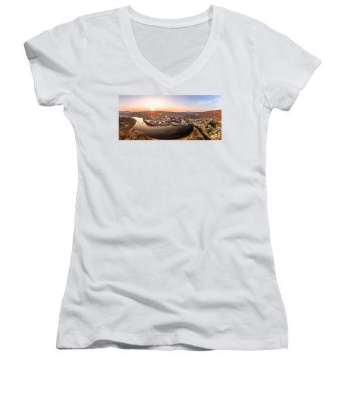Women's V-Neck T-Shirt (Junior Cut) featuring the photograph Colinsville, Connecticut Sunrise Panorama by Petr Hejl