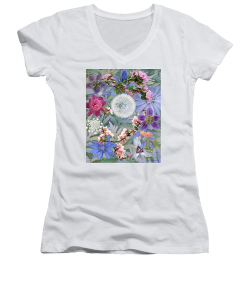 Collage One Women's V-Neck T-Shirt (Junior Cut) by John Selmer Sr