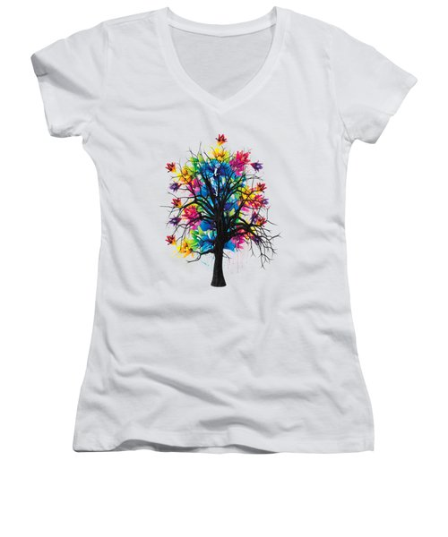 Color Tree Collection Women's V-Neck T-Shirt (Junior Cut) by Marvin Blaine