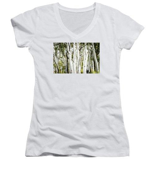 Colorado Aspens Women's V-Neck T-Shirt (Junior Cut) by Dawn Romine