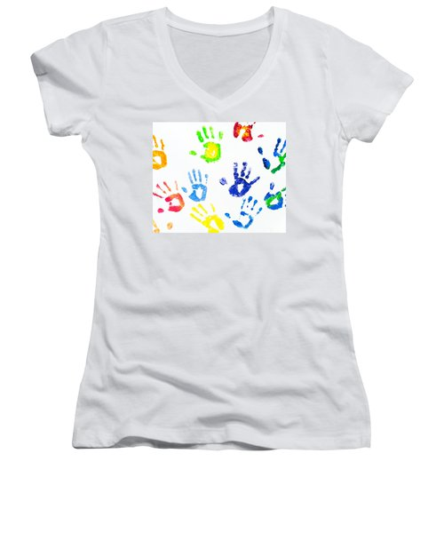 Women's V-Neck T-Shirt (Junior Cut) featuring the photograph Colorful Arm Prints Abstract by Jenny Rainbow
