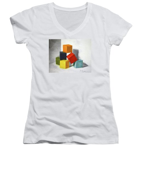 Colorful Blocks Women's V-Neck (Athletic Fit)