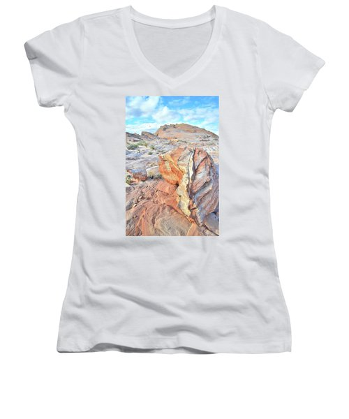 Colorful Boulder At Valley Of Fire Women's V-Neck T-Shirt (Junior Cut) by Ray Mathis