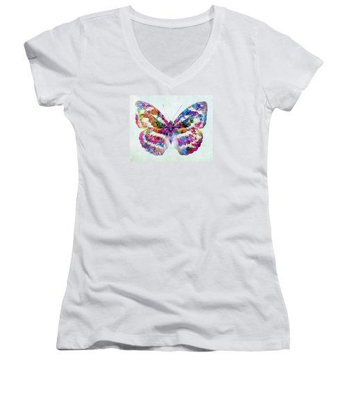 Colorful Butterfly Art Women's V-Neck T-Shirt (Junior Cut) by Olga Hamilton