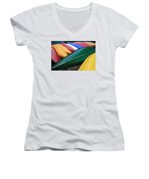 Colorful Canoes Women's V-Neck T-Shirt (Junior Cut) by Catherine Alfidi