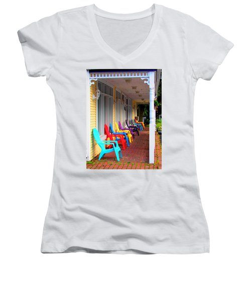 Colorful Chairs Women's V-Neck