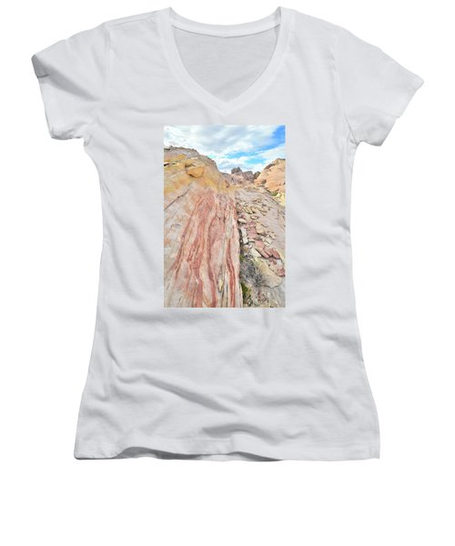Colorful Crest In Valley Of Fire Women's V-Neck T-Shirt (Junior Cut) by Ray Mathis