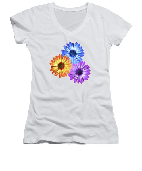 Colorful Daisies With Water Drops On White Women's V-Neck