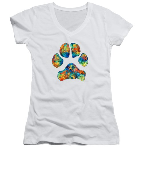 Colorful Dog Paw Print By Sharon Cummings Women's V-Neck T-Shirt