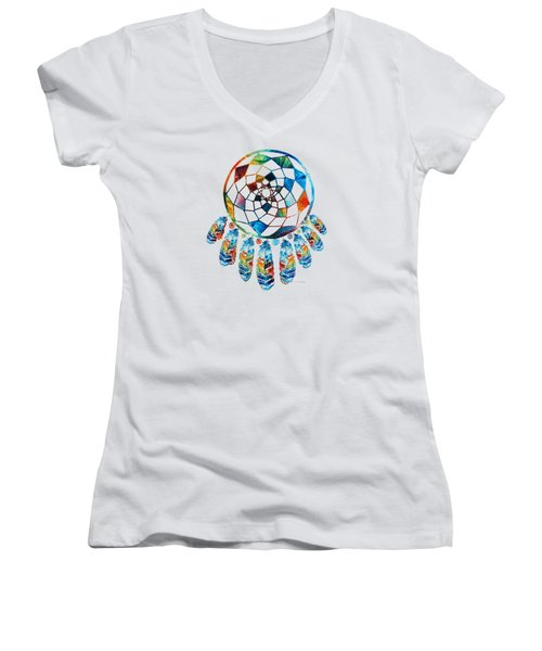 Women's V-Neck T-Shirt (Junior Cut) featuring the painting Colorful Dream Catcher By Sharon Cummings by Sharon Cummings
