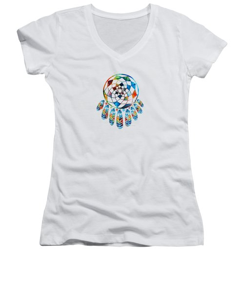 Colorful Dream Catcher By Sharon Cummings Women's V-Neck