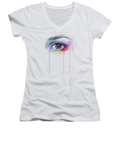 Colorful Dripping Eye Women's V-Neck (Athletic Fit)