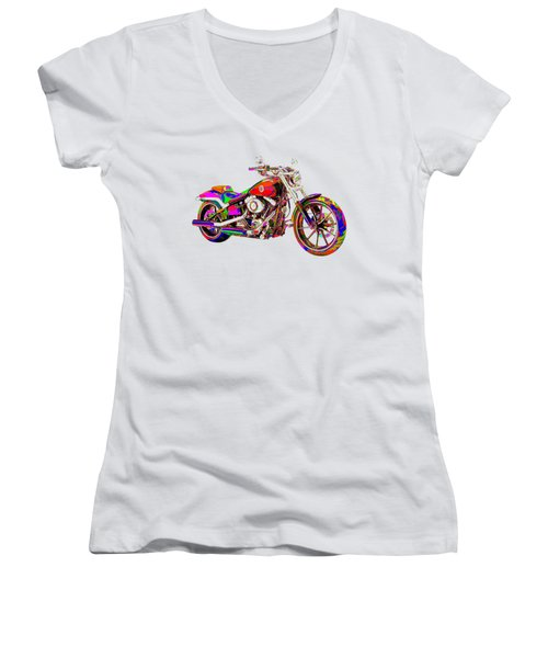 Colorful Harley-davidson Breakout Women's V-Neck T-Shirt