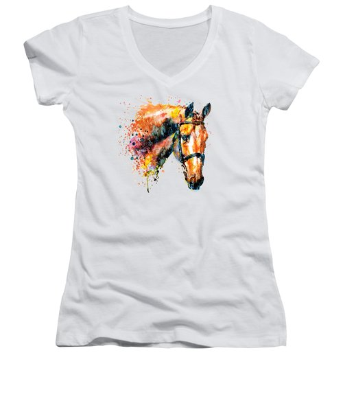 Women's V-Neck T-Shirt (Junior Cut) featuring the mixed media Colorful Horse Head by Marian Voicu