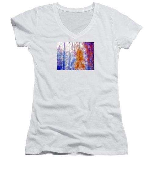 Colorful Misty Forest  Women's V-Neck T-Shirt (Junior Cut) by Odon Czintos