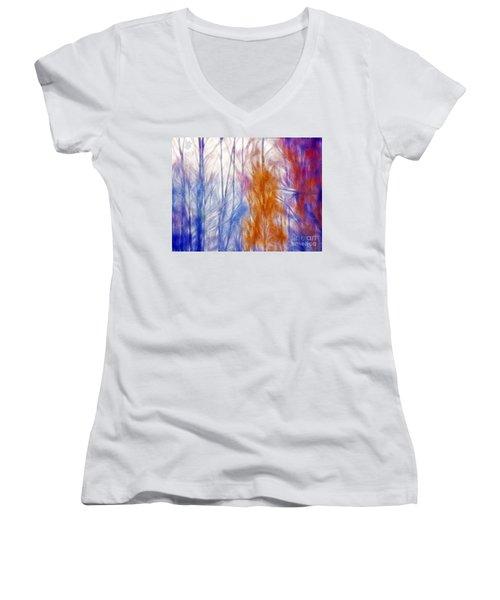 Colorful Misty Forest  Women's V-Neck