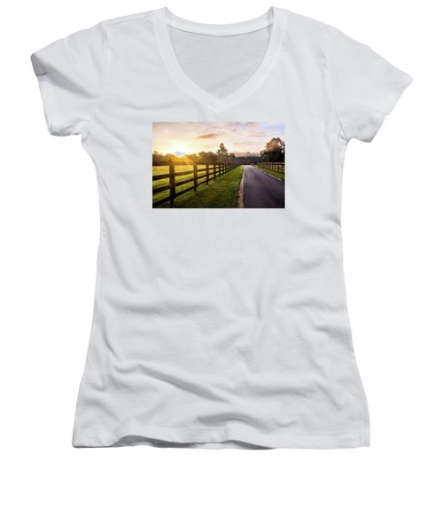 Women's V-Neck T-Shirt (Junior Cut) featuring the photograph Colorful Palette At Sunrise by Shelby Young
