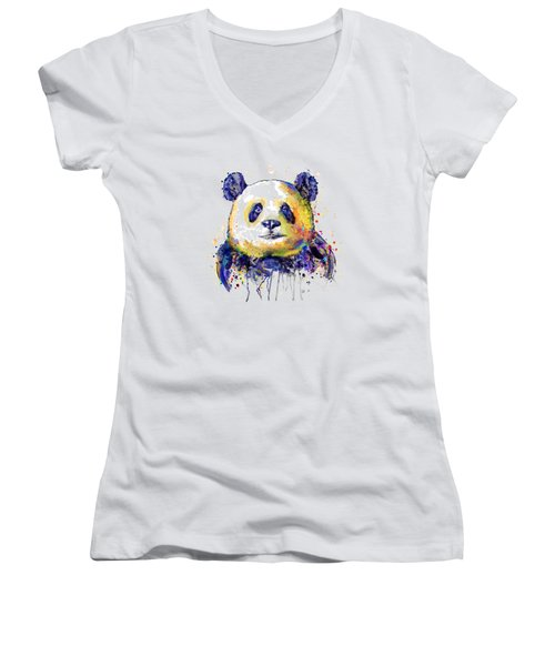 Women's V-Neck T-Shirt (Junior Cut) featuring the mixed media Colorful Panda Head by Marian Voicu