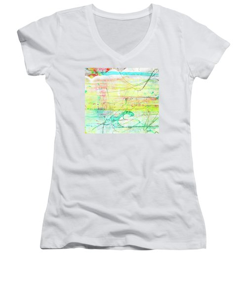 Colorful Pastel Art - Mixed Media Abstract Painting Women's V-Neck