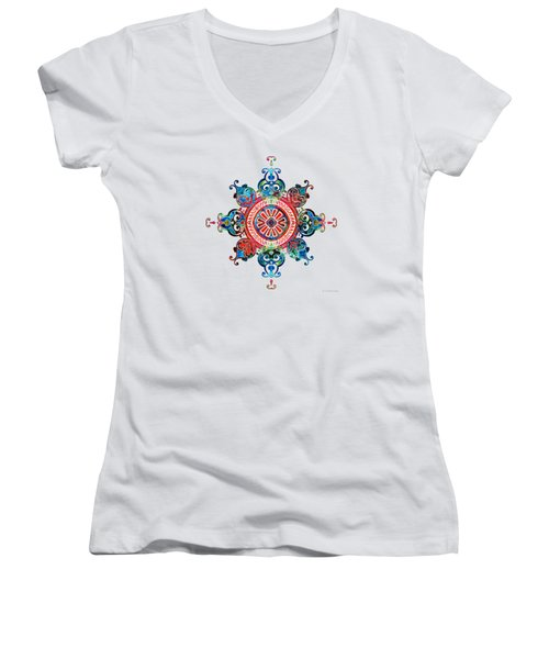Women's V-Neck T-Shirt (Junior Cut) featuring the painting Colorful Pattern Art - Color Fusion Design 3 By Sharon Cummings by Sharon Cummings