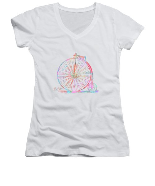 Colorful Penny-farthing 1867 High Wheeler Bicycle Women's V-Neck (Athletic Fit)