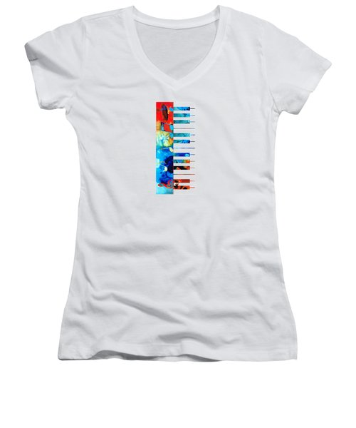 Colorful Piano Art By Sharon Cummings Women's V-Neck