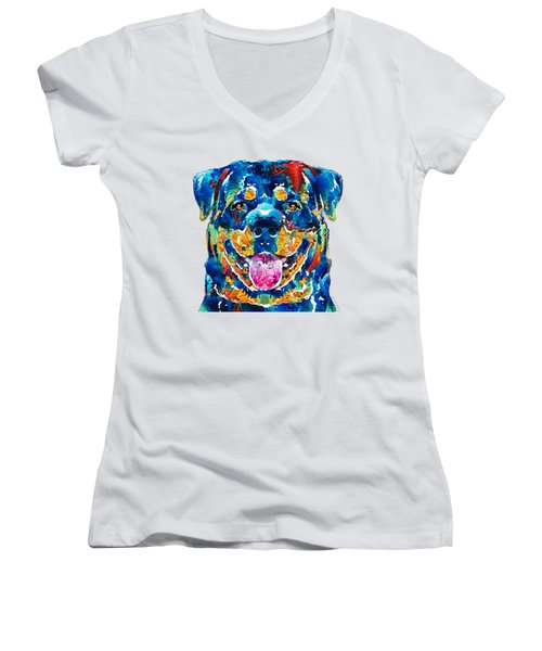 Colorful Rottie Art - Rottweiler By Sharon Cummings Women's V-Neck