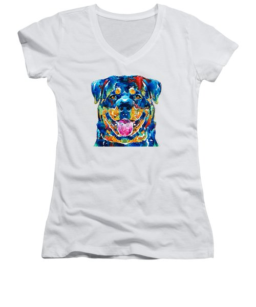Colorful Rottie Art - Rottweiler By Sharon Cummings Women's V-Neck (Athletic Fit)