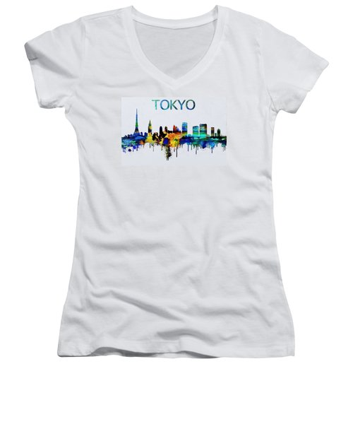 Colorful Tokyo Skyline Silhouette Women's V-Neck T-Shirt (Junior Cut) by Dan Sproul