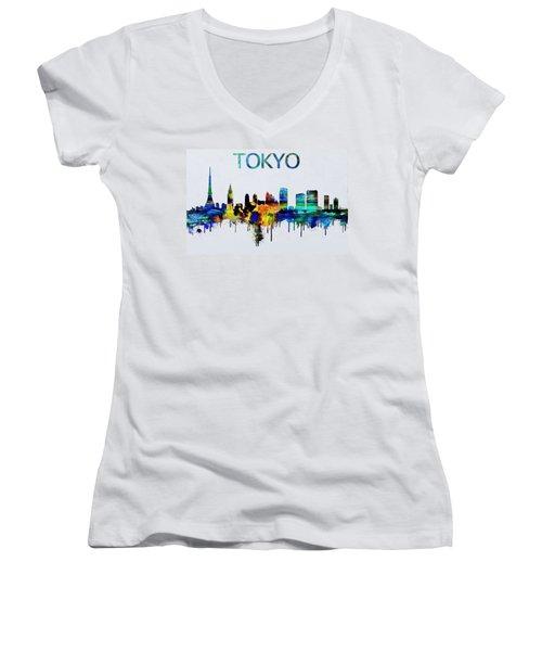 Colorful Tokyo Skyline Silhouette Women's V-Neck T-Shirt