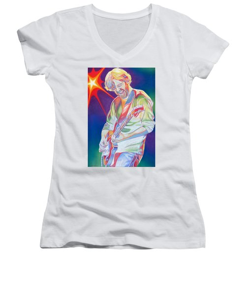 Colorful Trey Anastasio Women's V-Neck T-Shirt (Junior Cut) by Joshua Morton