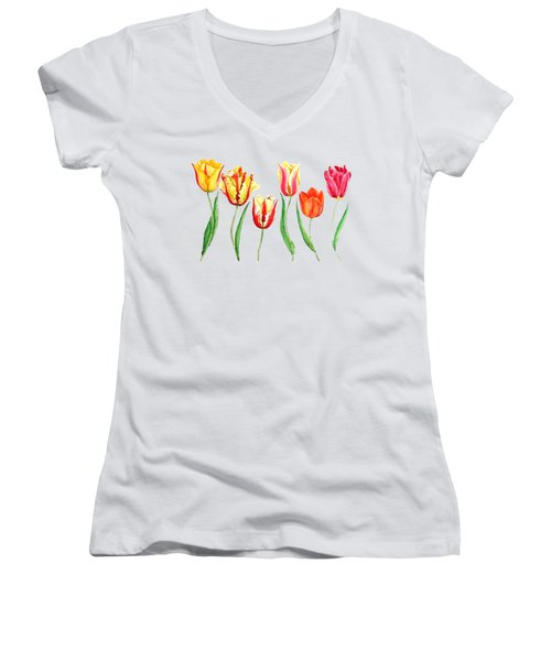 Colorful Tulips Women's V-Neck