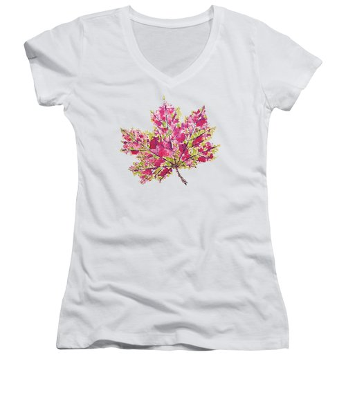 Colorful Watercolor Autumn Leaf Women's V-Neck (Athletic Fit)