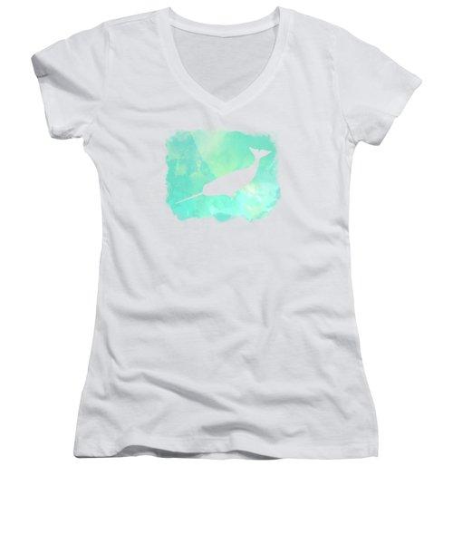 Colorful Watercolor Narwhal Sea Life Coastal Art Women's V-Neck T-Shirt