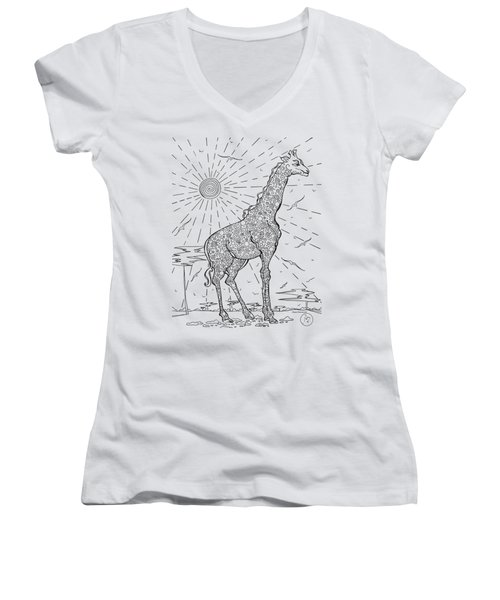 Coloring Page With Beautiful Giraffe Drawing By Megan Duncanson Women's V-Neck T-Shirt