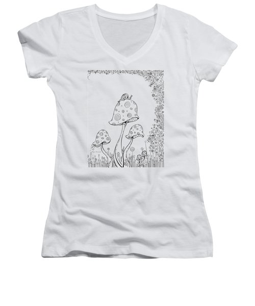 Coloring Page With Beautiful In The Garden 8 Drawing By Megan Duncanson Women's V-Neck T-Shirt (Junior Cut) by Megan Duncanson