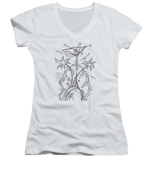 Coloring Page With Beautiful Tropical Martini Drawing By Megan Duncanson Women's V-Neck T-Shirt (Junior Cut) by Megan Duncanson
