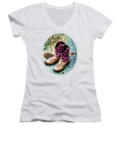 Colors Of A Cowgirl Oval White Women's V-Neck