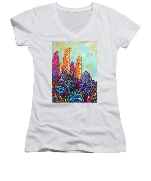 Women's V-Neck T-Shirt (Junior Cut) featuring the painting Colorwild by Rae Chichilnitsky