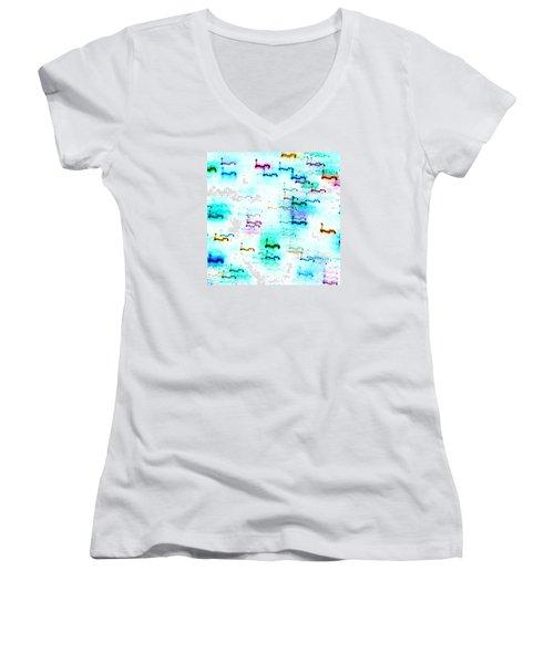 Colour Light Abstraction Invert Women's V-Neck T-Shirt
