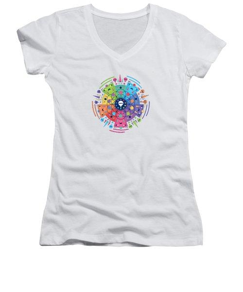 Colourful Of Stars Women's V-Neck T-Shirt