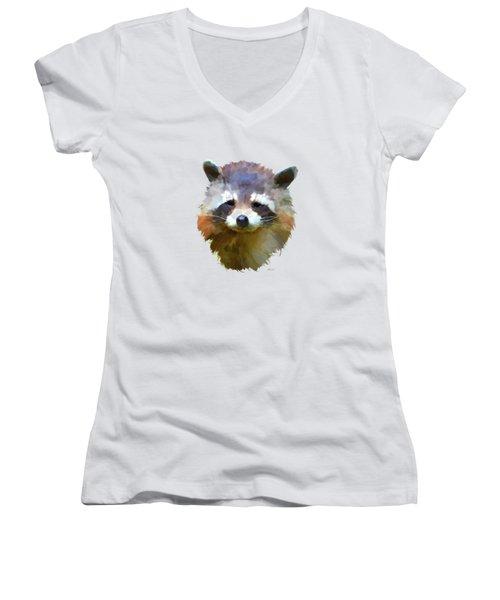 Colourful Raccoon Women's V-Neck T-Shirt (Junior Cut) by Bamalam  Photography