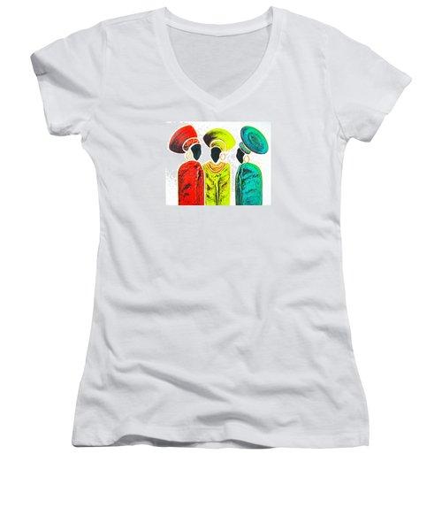 Colourful Trio - Original Artwork Women's V-Neck