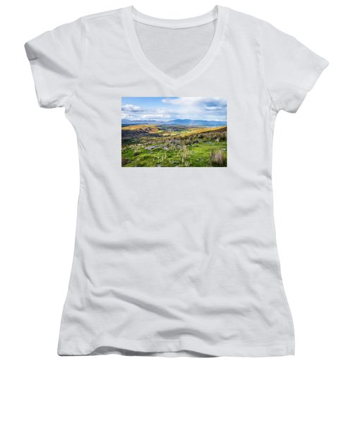 Women's V-Neck T-Shirt (Junior Cut) featuring the photograph Colourful Undulating Irish Landscape In Kerry  by Semmick Photo