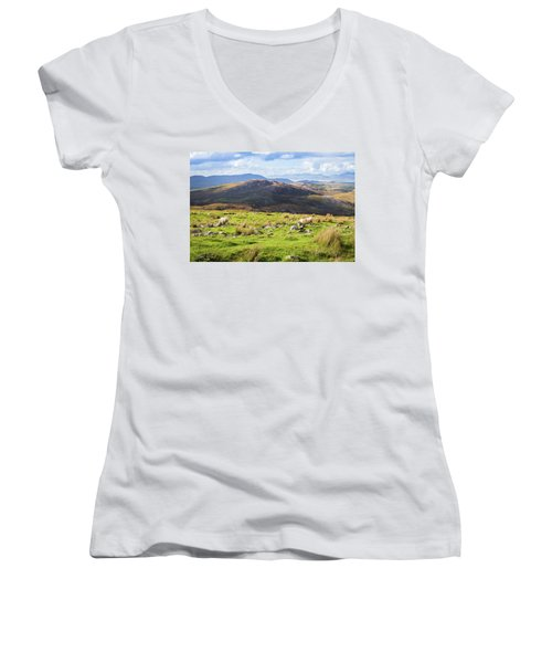 Women's V-Neck T-Shirt (Junior Cut) featuring the photograph Colourful Undulating Irish Landscape In Kerry With Grazing Sheep by Semmick Photo